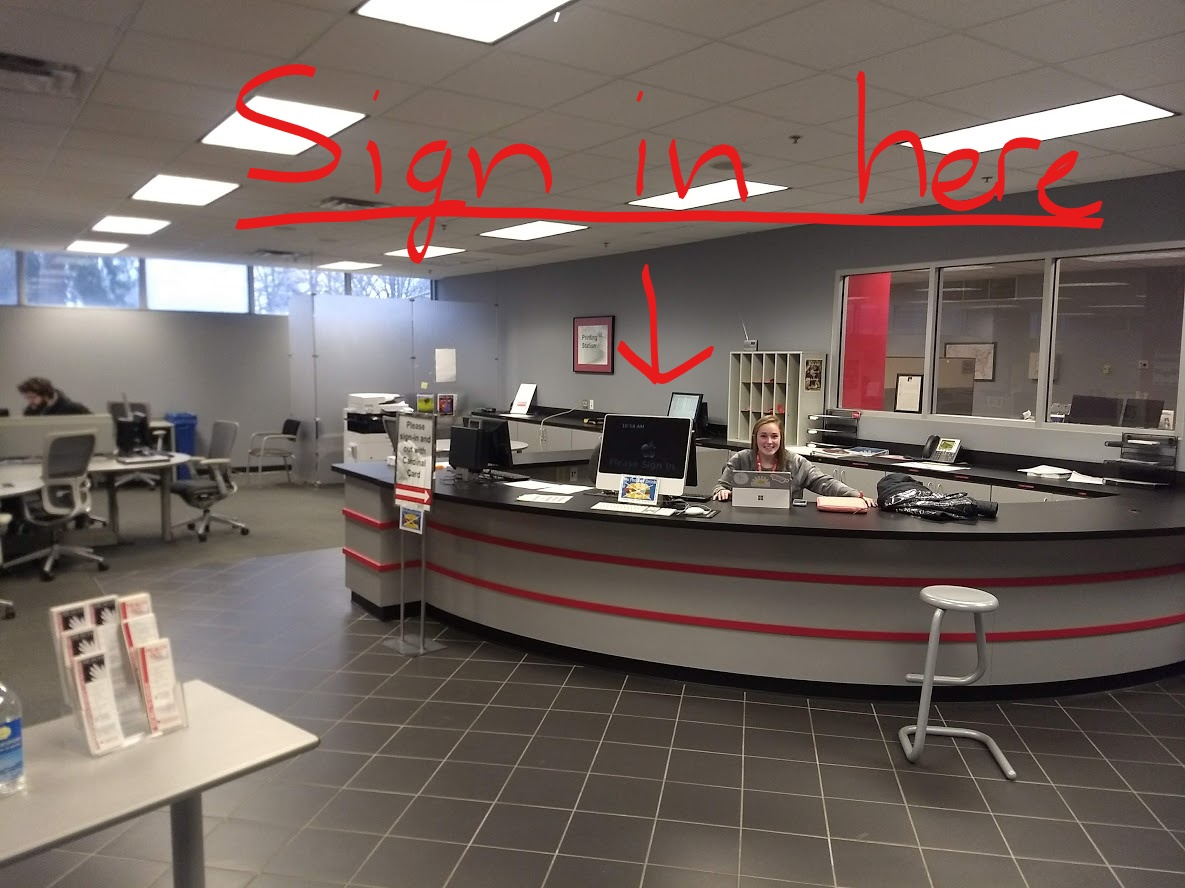Front Desk - Students should sign here